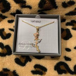 10K gold tricolor rose necklace
